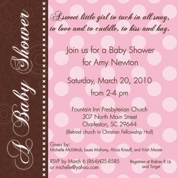 Pink Brown Dot Baby Shower Invitation