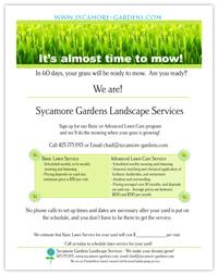 Full page flyer for Landscaping Company